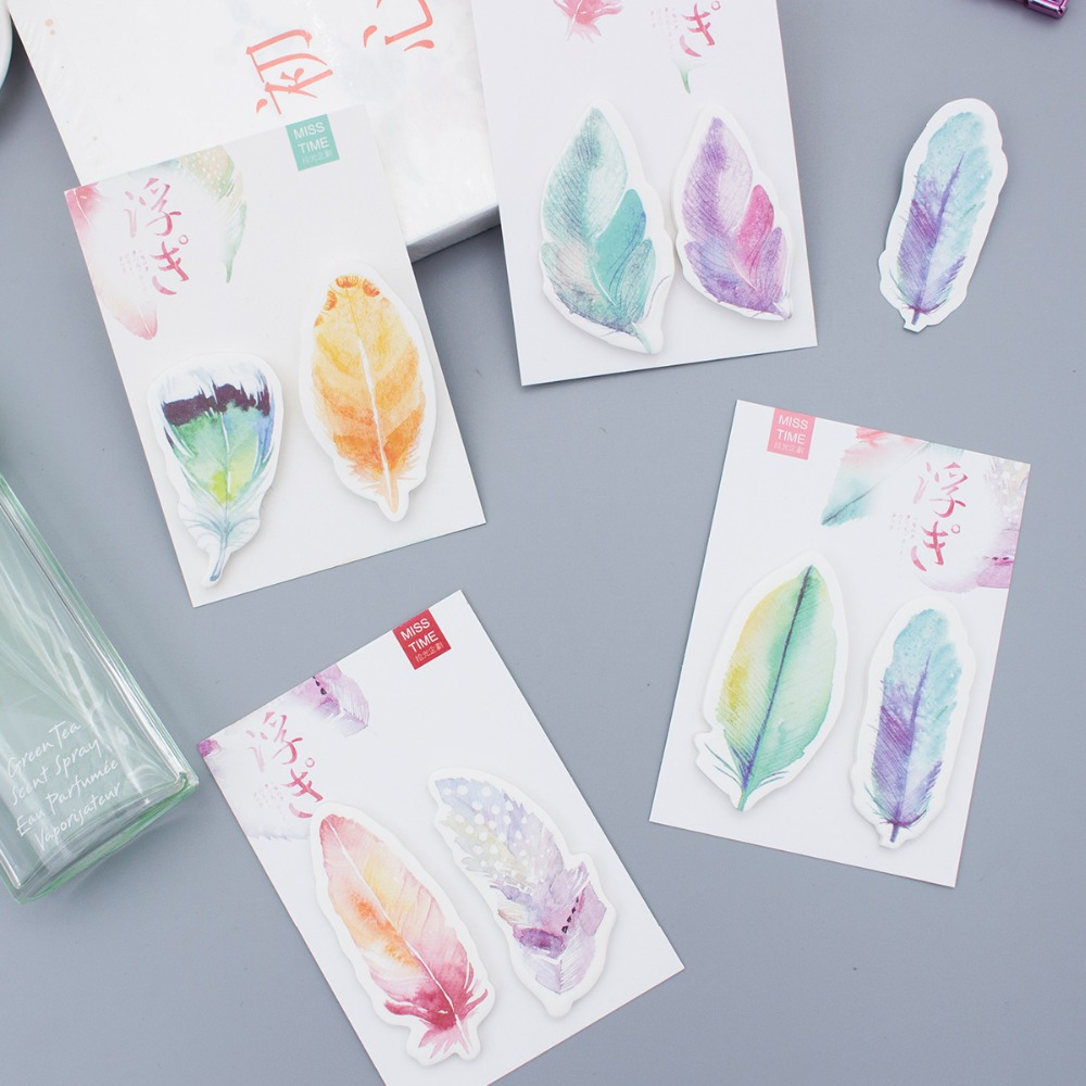 4 pcs/Lot Rainbow feather memo note Post guestbook stick marker label stickers Stationery Office School supplies FM171