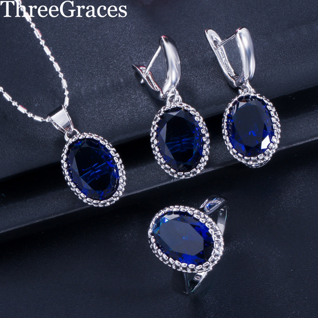 05eb66feb7426b ThreeGraces Fashion Cubic Zirconia Crystal Jewelry Oval Royal Blue 925 Sterling  Silver Ring Necklace Earring Set For Women JS197