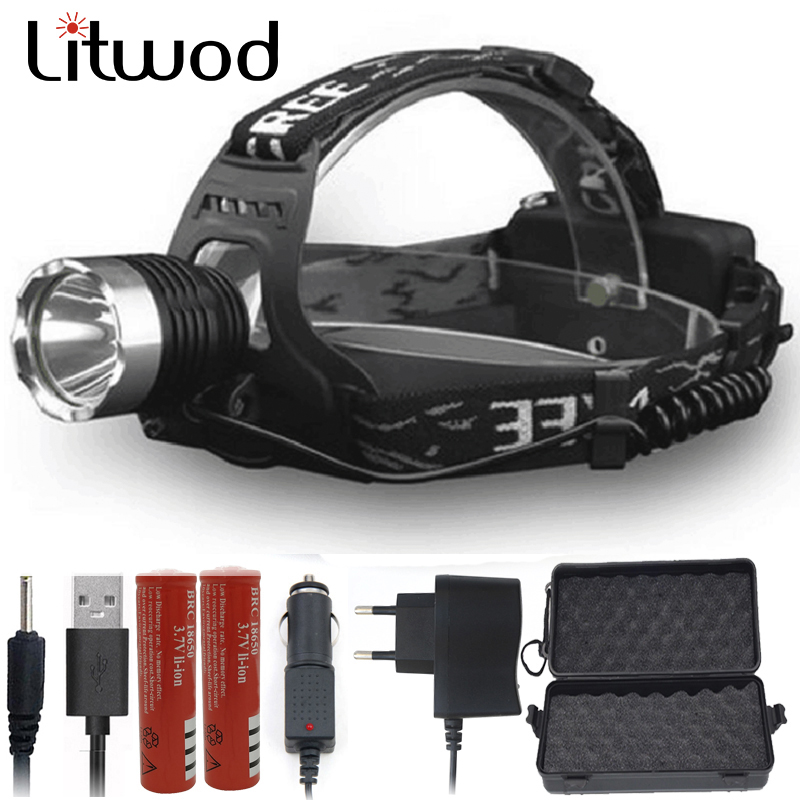 Litwod Z50 LED Headlamp Headlight 3000LM XM-L T6 Head Lamp Flashlight Torch Fishing Light Wearing Rechargeable Lights