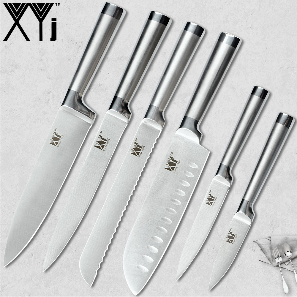 XYj Küche Messer Set 7cr17 Edelstahl Struktur Messer Obst Utility Santoku Chef Schneiden Brot Leichte Kochen Messer