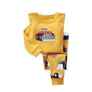 Image 5 - Pyjama pour enfant pour garçon et fille, ensemble pour la nuit avec pantalon long et haut à manches longues, imprimés animaux, matière coton