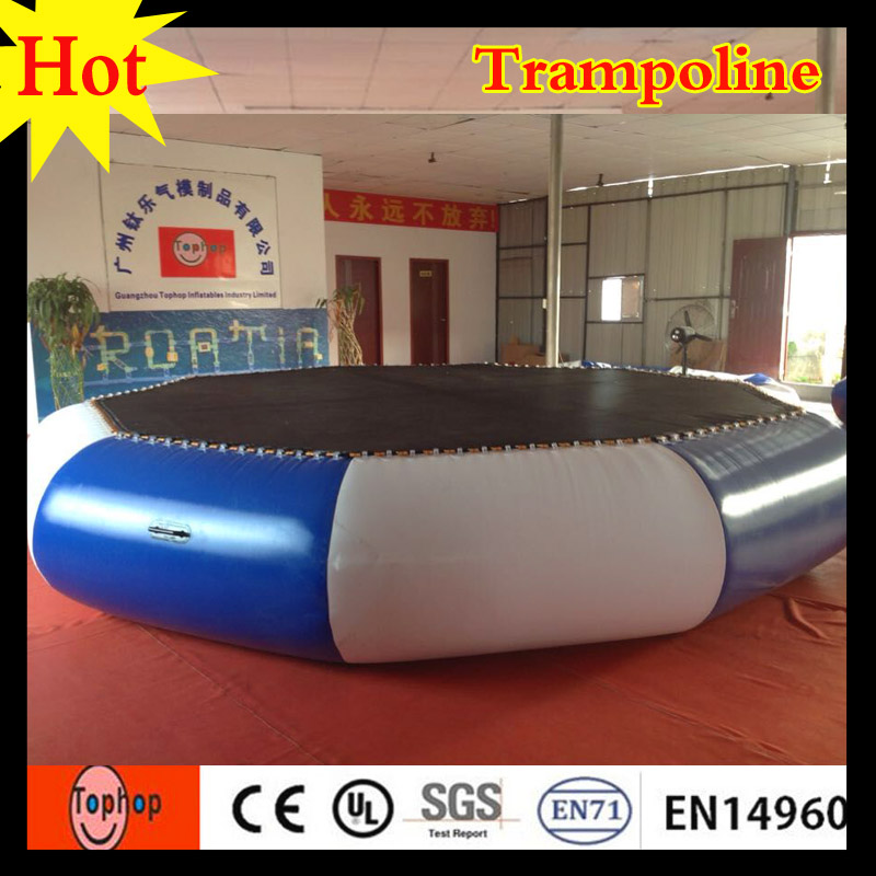 2016 Wholesale Kid Indoor Bed Inflatable Water Trampoline In Park Lake Commercial Rent 09mm PVC Tarpaulin Dia5m Bouncers From Toys Hobbies