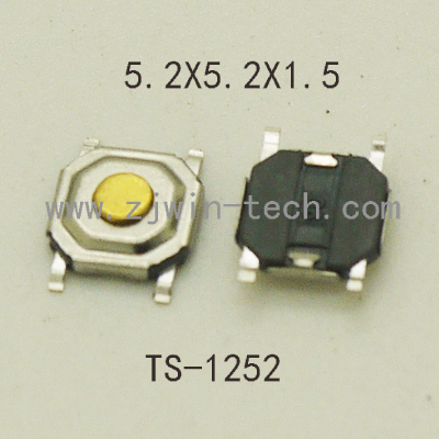 High Quality 50PCS 5.2x5.2x1.5mm 4PIN Metal Tactical Push Button Switch Tact Switch Key button Speaker Audio button ect 5pcs lot high quality 2 pin snap in on off position snap boat button switch 12v 110v 250v t1405 p0 5
