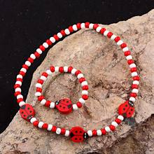 TopHanqi Red Wood Beads Girls Jewelry Sets Cute Animal Insect Kids Children Necklace Bracelet Set Birthday Party Jewelry Gift(China)
