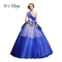 It's Yiiya Blue Strapless One Shoulder Wedding Dresse Ball Gowns Appliques Color Bridal Frocks Vestidos De Novia Casamento X217