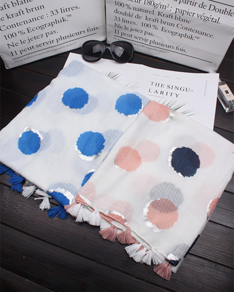 2018 New Women Dot Foil Pattern Scarves And Shawls Long Cotton Voile Spot Tassel Hijab Wrap 10pcs/lot Free Shipping