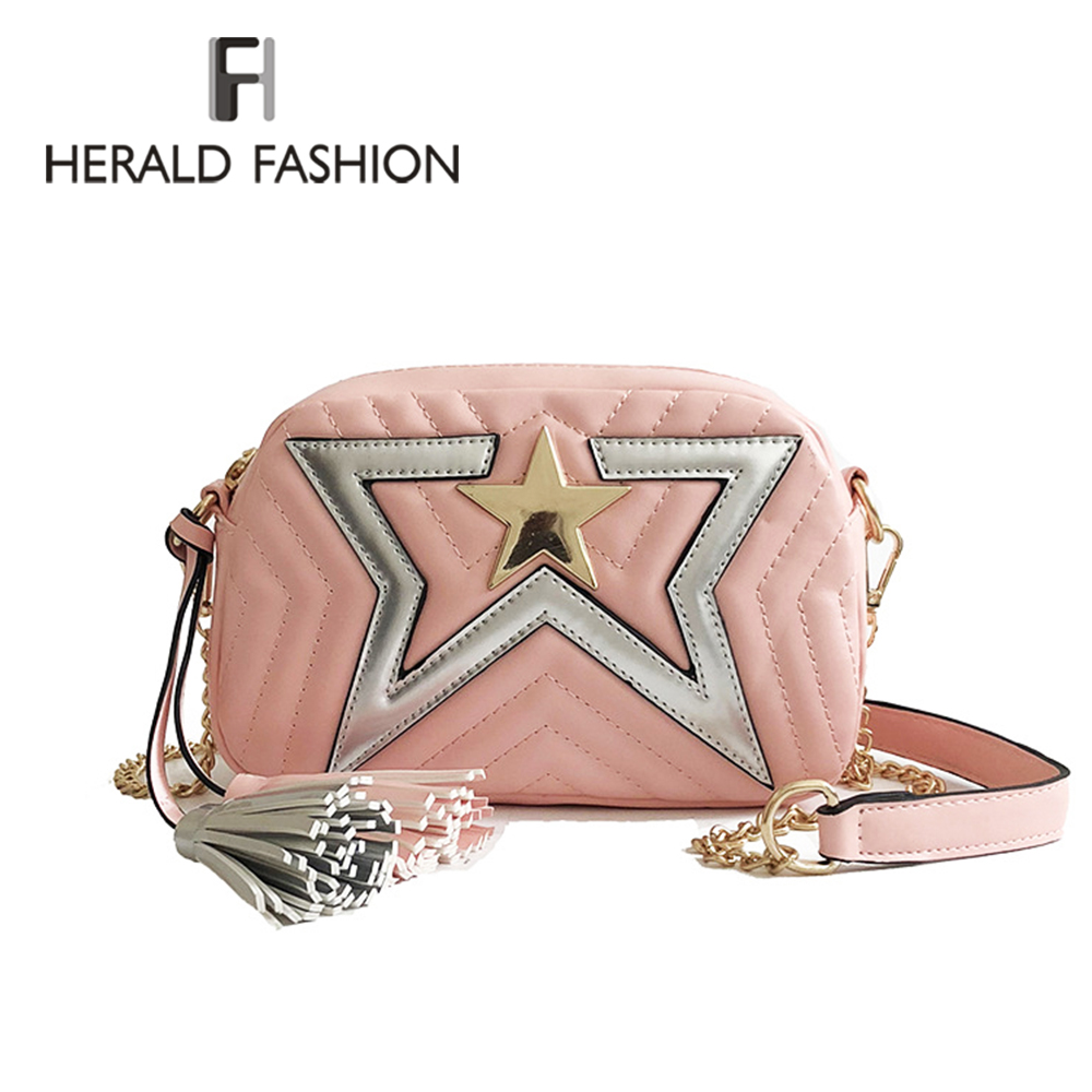 Herald Fashion Women Messenger Bags Pentagram Design Chain Strap Shoulder Bags For Lady Female Cute Crossbody Tassel Girls Bags