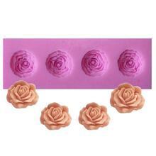Четыре маленькие формы розы 1 шт 3d силиконовая форма для торта