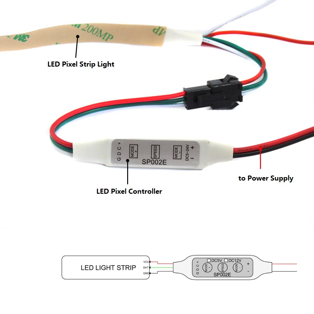 """""""LED Pixel"""" valdiklis 5 V 12 V 24 V WS2811 WS2812 WS2812B - Apšvietimo priedai - Nuotrauka 4"""
