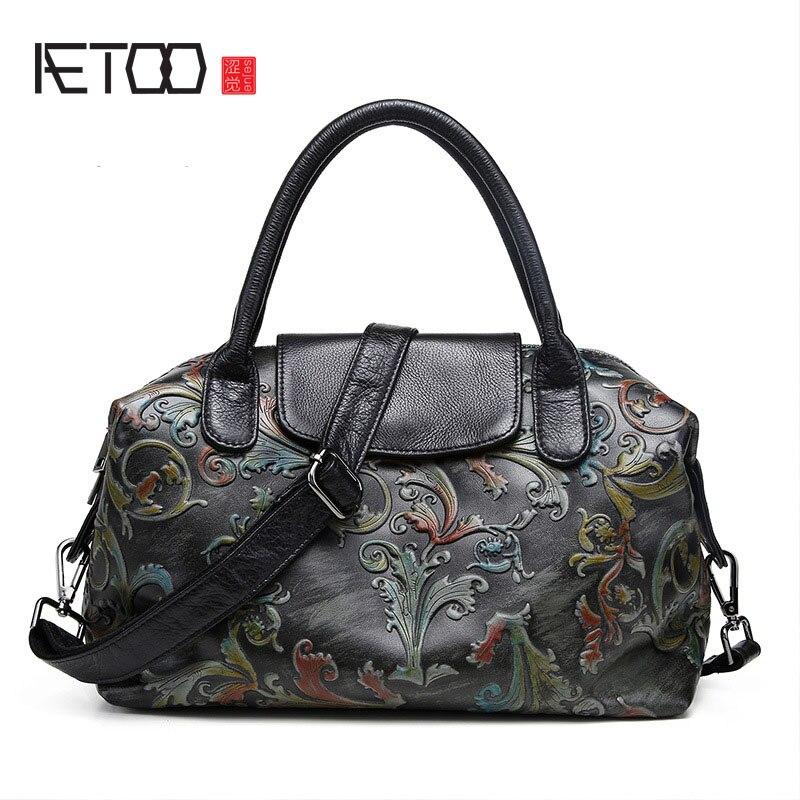 AETOO The new cowhide printing fashion casual women bag Phoenix rose pattern leather handbags aetoo 2017 new 100