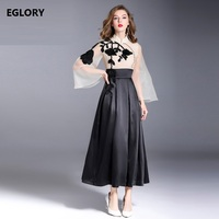High Quality Brand Chinese Dress Women Sheer Mesh Appliques Embroidery Patchwork Flare Sleeve Vintage Party Novelty