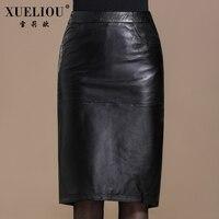 2017 women's plus size skirt bust sheepskin slim hip genuine leather skirt medium long female