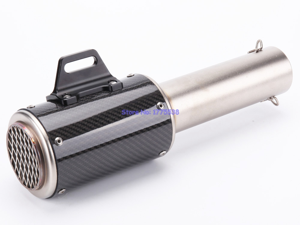 Inlet 61mm Carbon Fiber Motorbike Motorcycle Exhaust Muffler Pipe Escape with Net for bmw motorcycle exhaust pipe muffler inlet 51mm 61mm r3 gp exhaust mufflers carbon fiber exhaust pipe with sticker laser logo