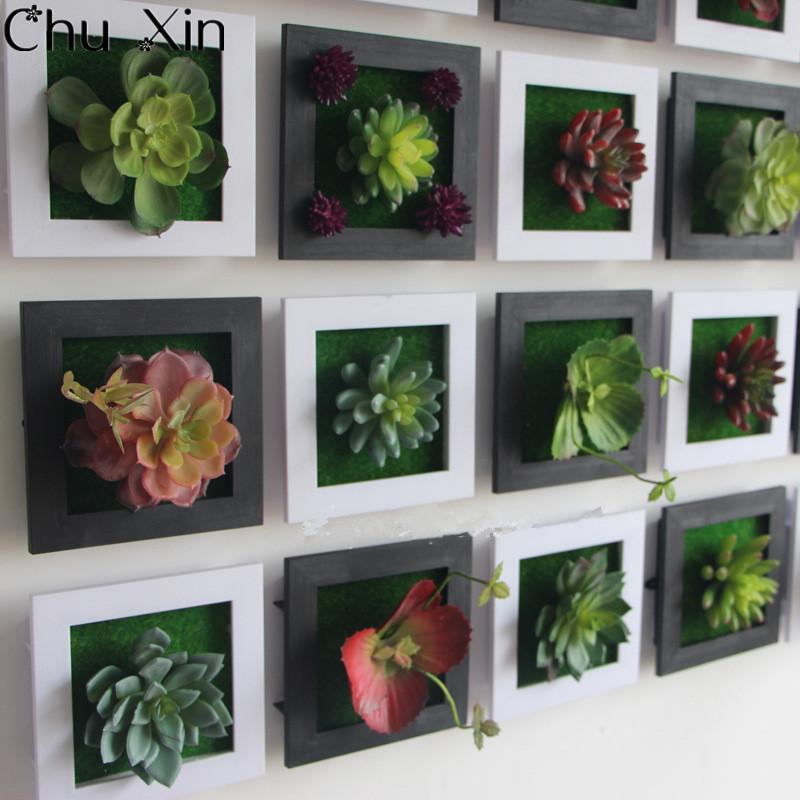 Branco 3D Criativo metope plantas suculentas Imitação de madeira da foto da parede quadro decoração de flores artificiais decoração de casa sala de estar(China (Mainland))