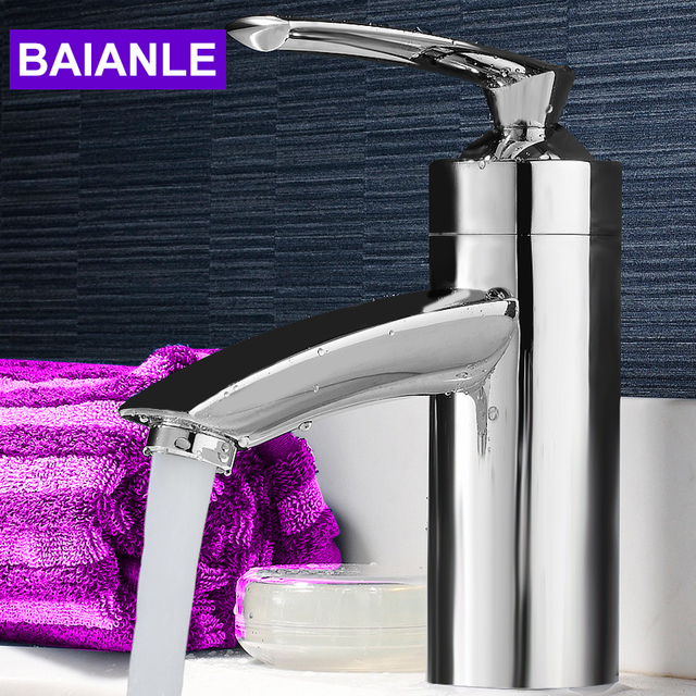 Baianle Basin Faucet Brass Body Bathroom Faucet with Shower Head Vessel Sink Water Tap Cold and Hot Mixer Chrome Finish