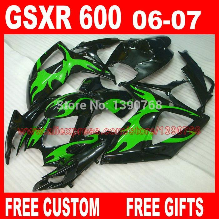 Обтекатели набор для Suzuki GSXR 600 750 2006 2007 зеленый пламя в черный пластиковый кузов К6 gsxr600 GSXR750 06 07 обтекатель комплект HV16