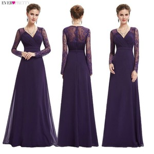 Image 2 - Women Elegant Evening Dresses 2020 Ever Pretty EP08692 A Line V neck Lace Long Sleeves Robe De Soiree Formal Party Dresses 2020