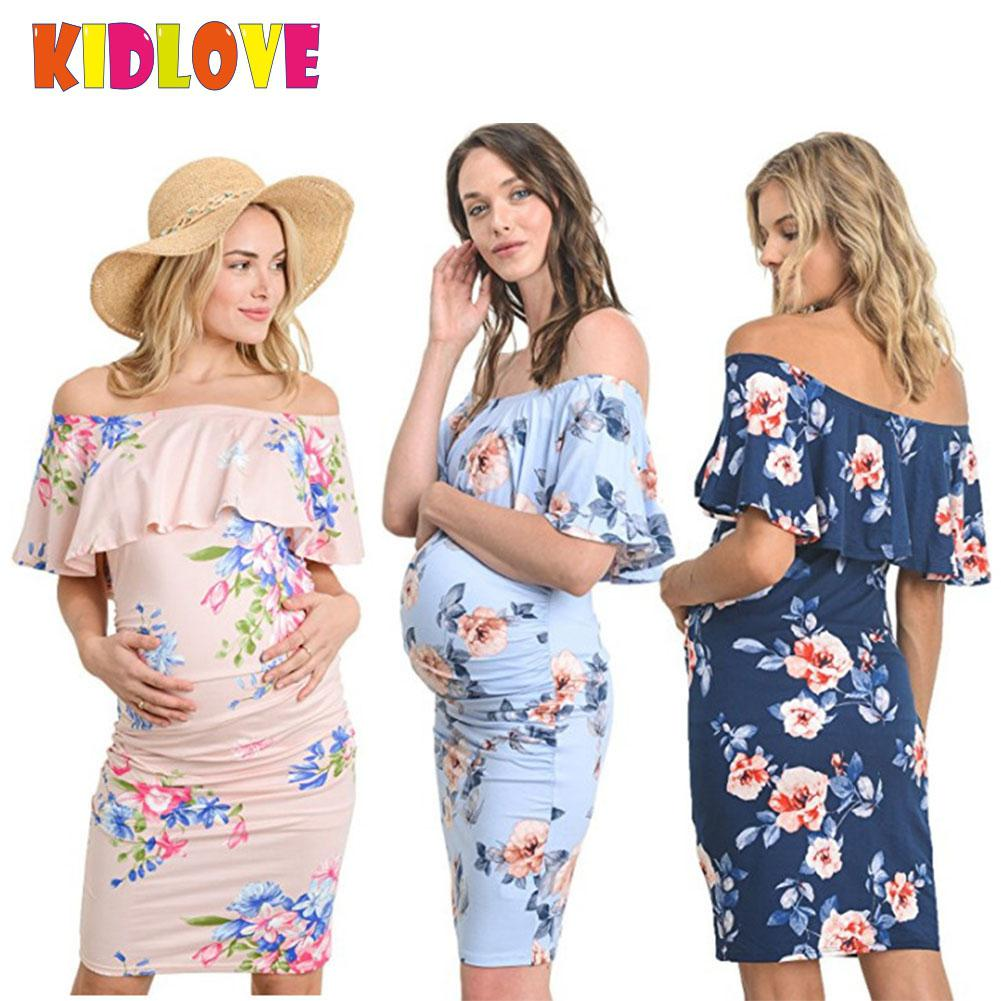 Kidlove Shoulderless Floral Dress Maternity clothes Pregnant Off-shoulder Elastic Dress Fashion Flowers Pink big Size XL SAN0