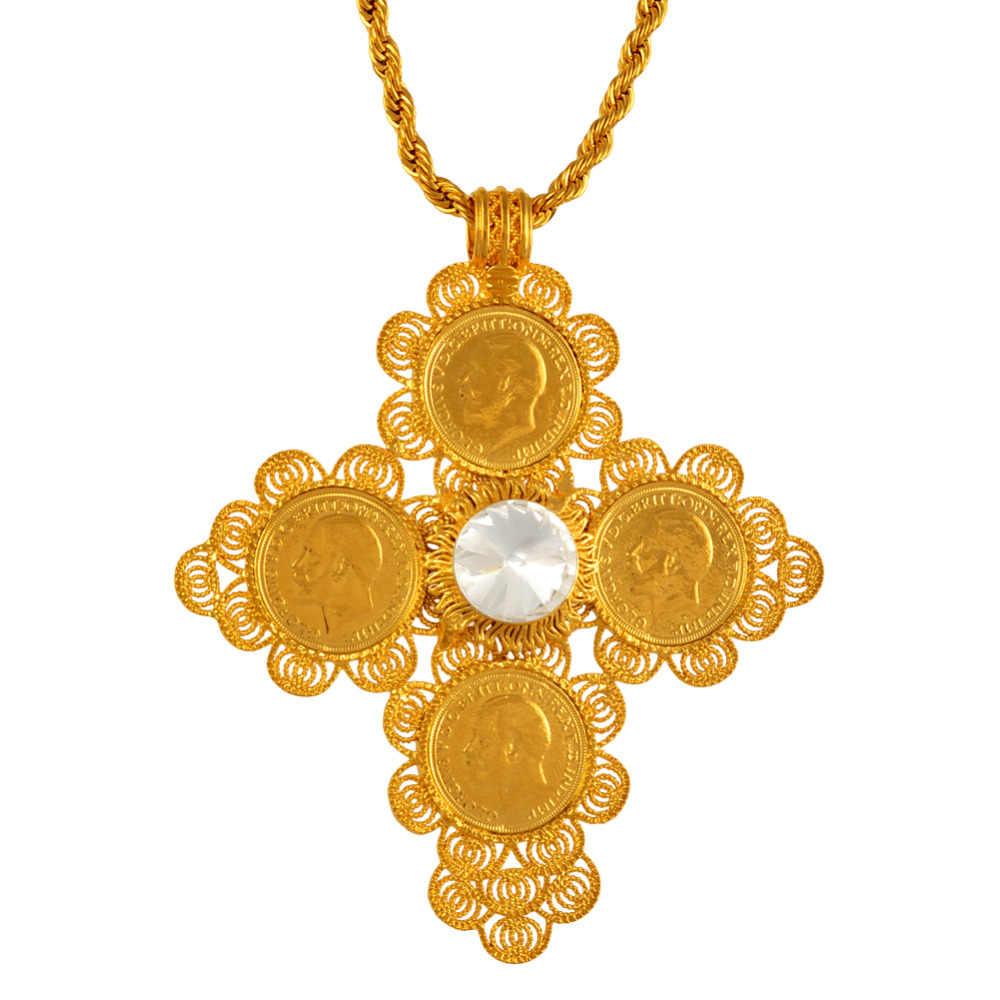 b75e0516a5e27 Anniyo Ethiopian Big Cross Pendants Necklaces Women/Men Gold Color Jewelry  Africa Coin Cross/Eritrea Habesha Necklace #044202