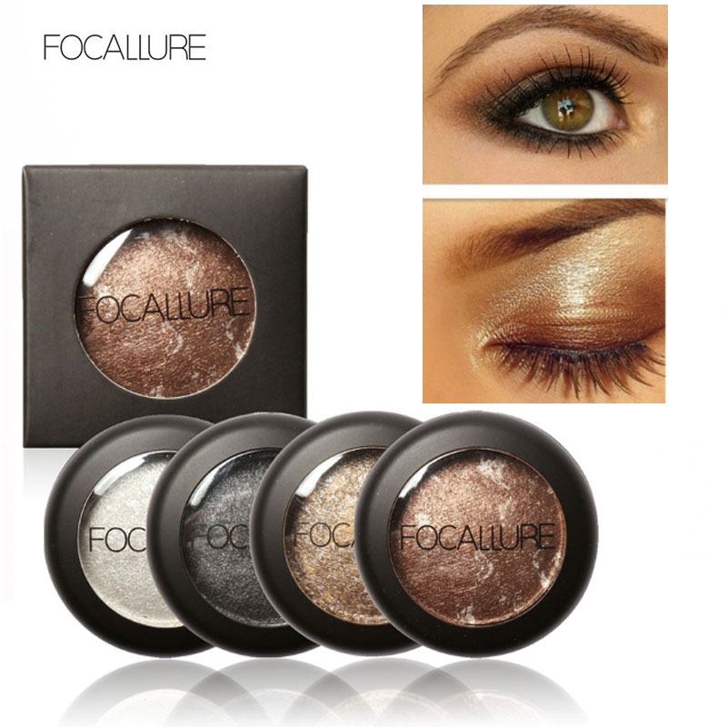 Focallure 10 Colors single Baked Eyeshadow professional baking Eye shadow Palette in Shimmer Metallic Eyes Makeup