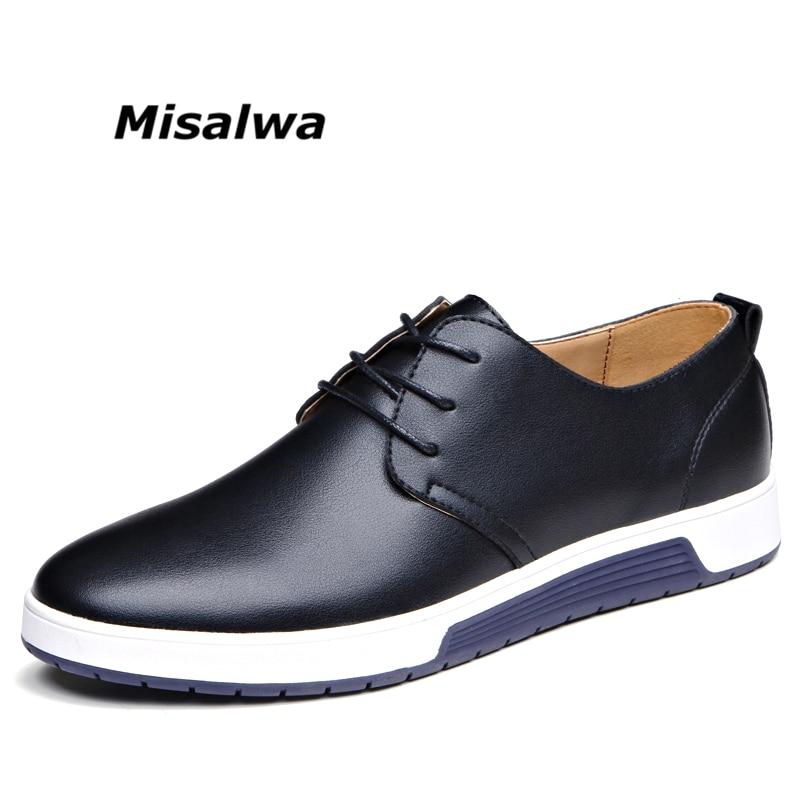 Misalwa Mâle Noir En Cuir de Mocassins Casual Chaussures Hommes Brun Bleu Big Plus Taille D'été Maille Appartements Sneakers Mocassins Chaussures dentelle-up