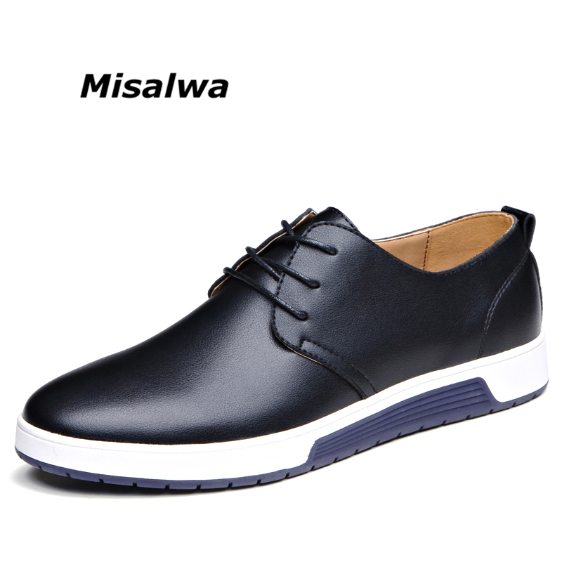 Misalwa Male Black Leather Loafers Casual Shoes Men's Brown Blue Big Plus Size Summer Mesh Flats Sneakers Loafers Shoes Lace-up