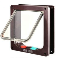Borwn-Dog Cat Flap Door with 4 Way Lock Security Flap Door For Cats Kitten ABS Plastic Small Dog