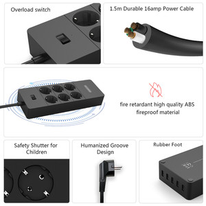 Image 2 - Adattatore del caricatore della parete del cavo di alimentazione del Protector 1.5m di sovratensione della presa USB 5 della presa multipla astuta del filtro da rete di NTONPOWER