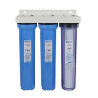 """3-Stage Whole House Water Filter System with PP Sediment and Premium Carbon Block Filter 1&5 Micron ,1st stage clear ,3/4"""" inlet"""