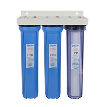 3-Stage Whole House Water Filter System with PP Sediment and Premium Carbon Block 1&5 Micron ,1st stage clear ,3/4 inlet