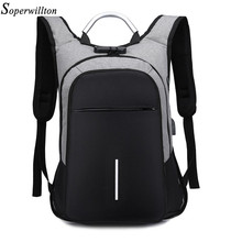 "Soperwilltion Men's Backpack Anti Theft Waterproof 15.6"" Laptop Backpack bag Male Female Teenage Student bagpack Travel bag 1235(China)"