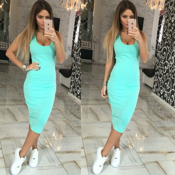 2016 hot sale women summer solid sexy sheath dress tank sleeveless empire and o-neck mid-calf casual dress