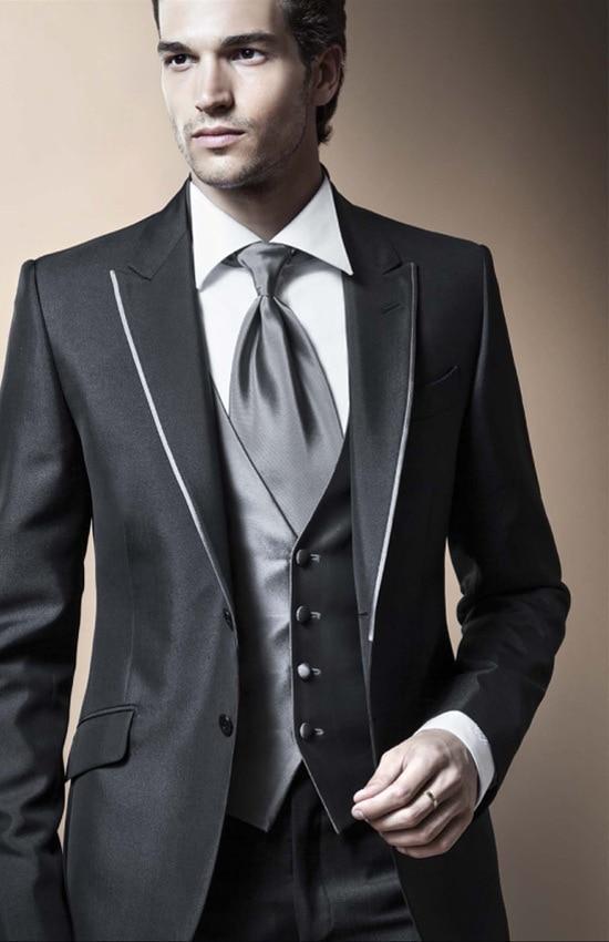 2017 Customized groom wear suits Black Lapel Jacket+Pants+Tie+Vest ...