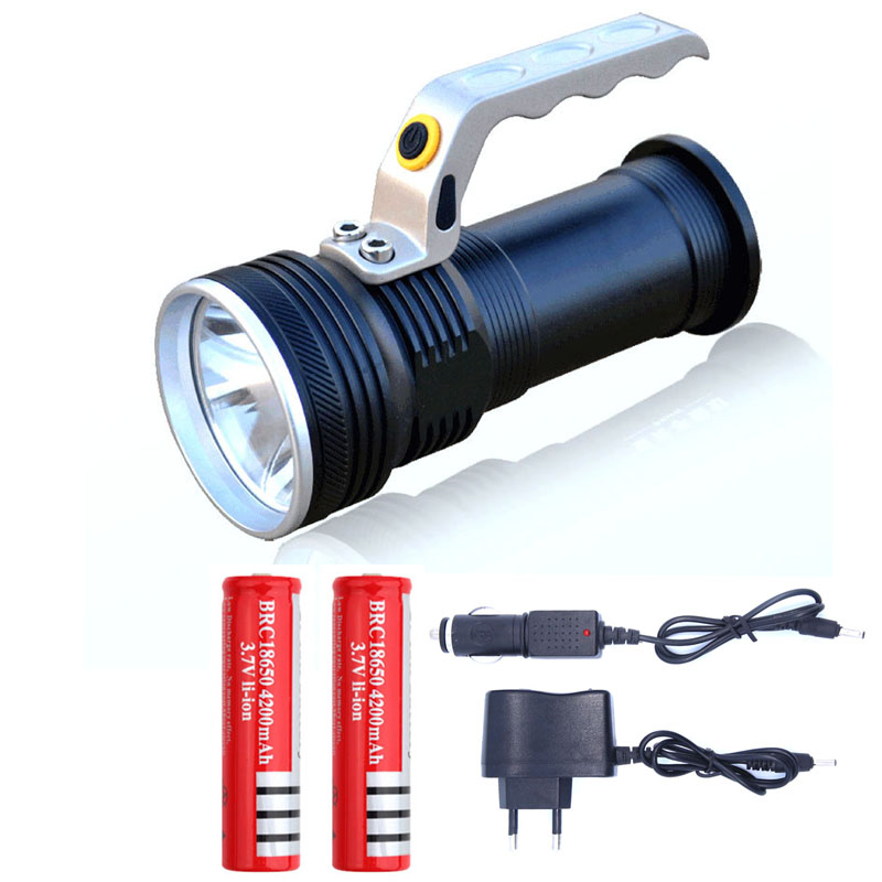 waterproof Rechargeable led flashlight 3800LM XPE Q5 hand lamp Torch Portable light Lantern Use 2*18650 Battery car AC charger