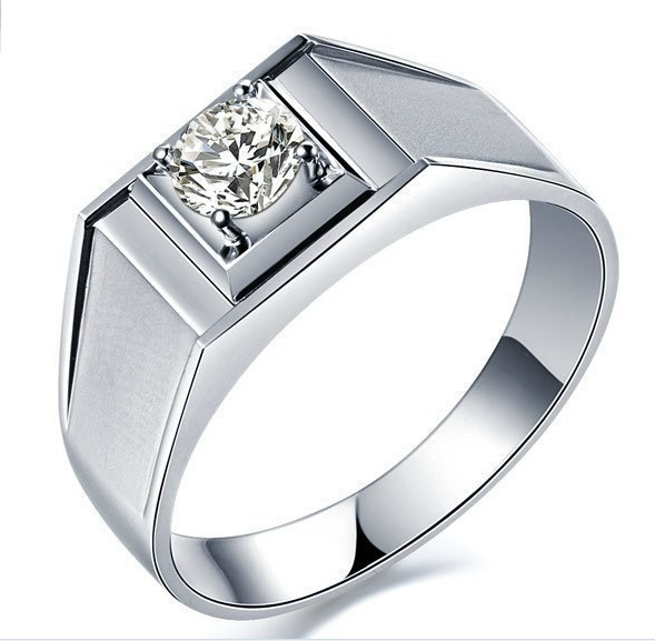 wholesale 045 ct classic diamond ring for man wedding men jewelry ring engagement sterling silver white gold plated - Wedding Ring Man