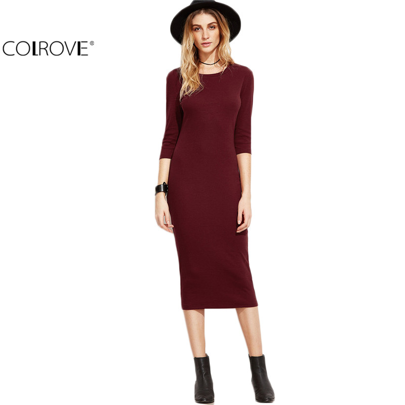 COLROVIE Burgundy Bodycon Dress Office Ladies 2017 Womens Dresses Autumn New Elegant Women's Dress Women 3/4 Sleeve Pencil Dress