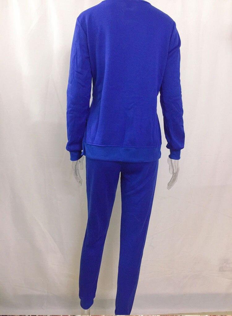 Women Tracksuit Long Sleeve Slit Solid Sweatshirts Casual Suit Women Clothing 2 Piece Set Tops Pants Sporting Suit Female 14
