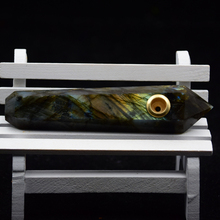 Fashion natural crystal sell portable beautiful labradorite smoking pipes