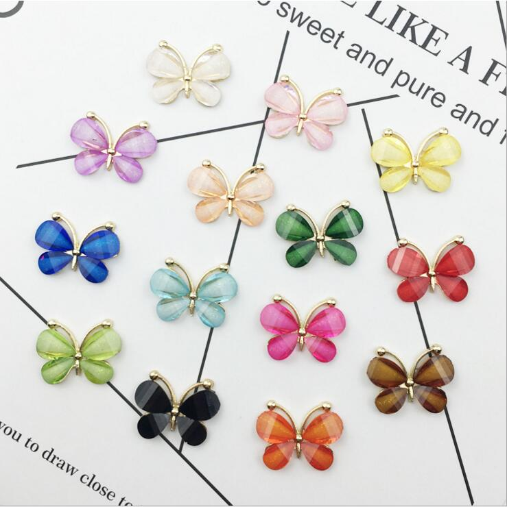 14pcs/lot Mix 14colors Gold Base Acrylic Butterfly Hair Embellishments Brooches Hairbow Center Cellphone Decoration Accessories