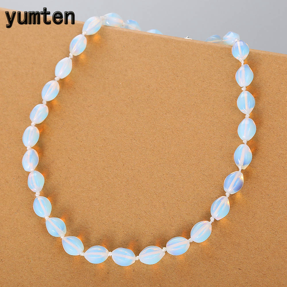 Yumten Opal Necklace Women Clavicle Chain Casual Party Jewelry Round Short Bijoux Rope Chain Clear Crystal Bead Chain Anime GiftYumten Opal Necklace Women Clavicle Chain Casual Party Jewelry Round Short Bijoux Rope Chain Clear Crystal Bead Chain Anime Gift