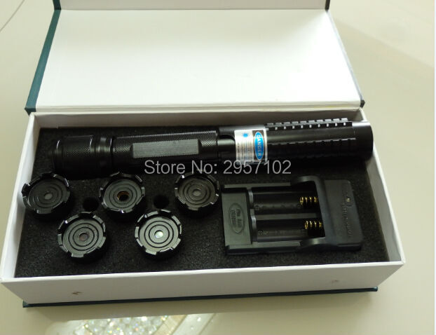 High Powered 450nm 200000m Focusable Blue Laser Pointers Light Burning Match/Dry Wood/Candle/Black/Burn Cigarettes+5 Caps+Box