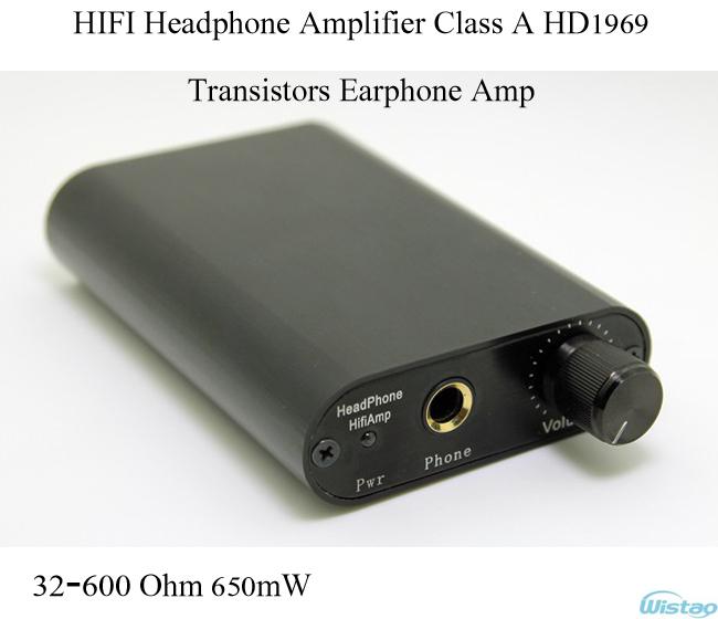 IWISTAO HIFI Headphone Amplifier Transistors Earphone Amp Class A HD1969 32-600 Ohm 650mW Tube Taste Black Free Shipping iwistao 2x20w hifi amplifier stereo