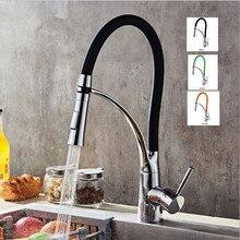 Вытащить кухонный кран черный хром отделка двойной сопла распылителя холодной и горячей воды смесителя ванной кран Torneira Cozinha