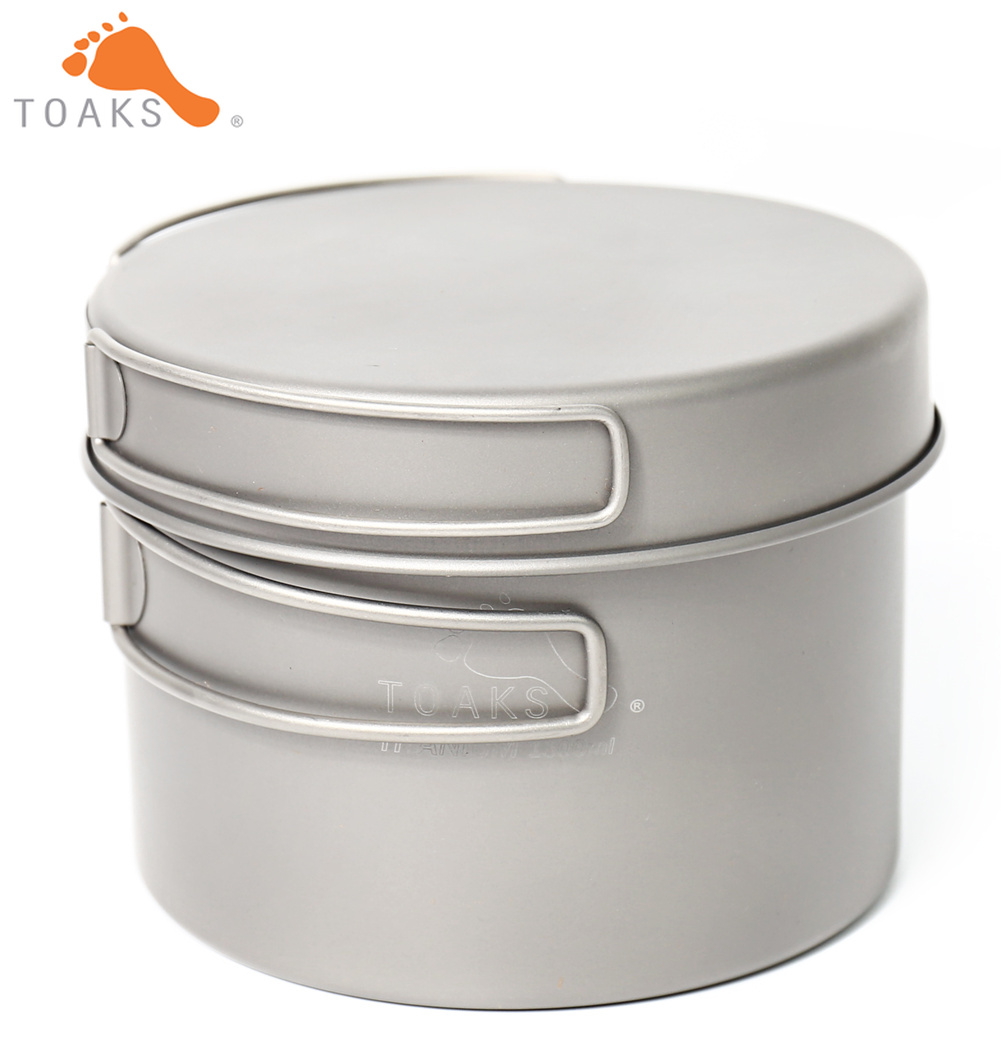 TOAKS CKW 1300 Titanium Outdoor Camping Pan Hiking Cookware Backpacking Cooking Picnic Bowl Pot Pan Set with Folded handle-in Outdoor Tablewares from Sports & Entertainment    1