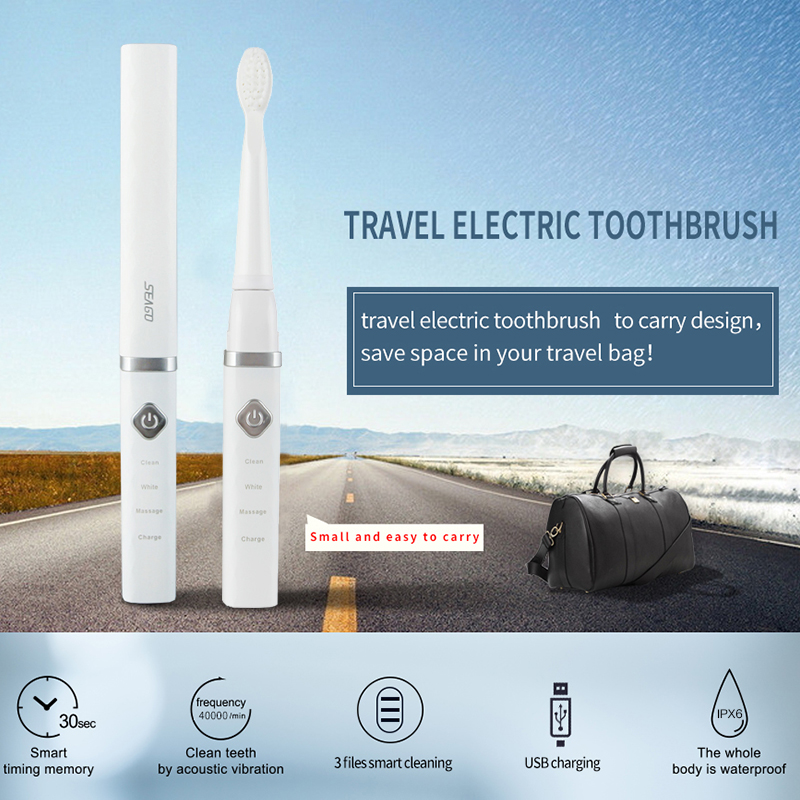 Waterproof Sonic Electric Toothbrush USB Rechargeable Teeth Brush Adult Kids Automatic Smart Timer Tooth Brushes + 3 Brush Head image