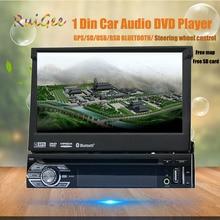 1 Din 7 Pulgadas Ventanas en El Tablero Estéreo Del Coche Solo Din GPS Reproductor de DVD Estéreo Bluetooth USB SD AM/FM Radio de Coche de Control Del Volante