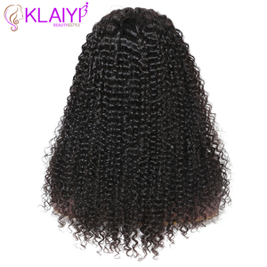 Image 5 - Klaiyi Hair Curly Hair Lace Front Wigs 13*6 Inch Brazilian Remy Hair With Pre Plucked 150% Denisty Human Hair Wig 10 24