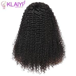 Image 5 - Klaiyi saç kıvırcık saç dantel ön peruk 13*6 inç brezilyalı Remy saç ön 150% yoğunluk insan saçı peruk 10  24