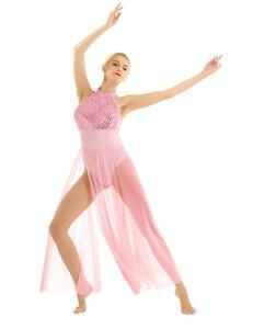 Image 2 - Delle donne Lyrical Danza Costumi Per Adulti Senza Maniche Halter Con Paillettes Maxi Vestito Da Prestazione Della Fase di Ballo di Balletto con Built In Body
