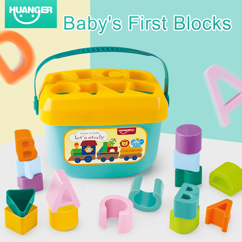 Huanger Baby First Blocks Colour&Shape Toy Over 3 Month For Children Educational Sorting Box Unisex Rattle Mobiles Happy Gift
